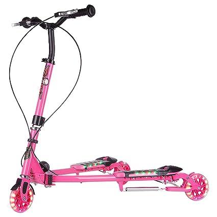HYE-Patinete Scooter de 3 Ruedas Plegable Empuje oscilación ...