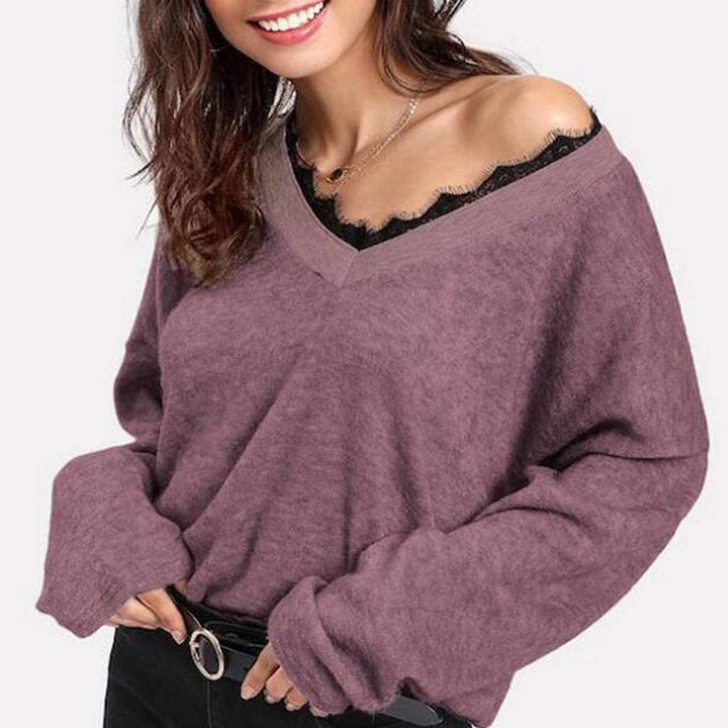 Futurelove Womens V Neck Long Sleeve Lace Knit Tops Off Shoulder Oversized Pullover Sweater Red