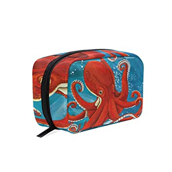 1f8a95eb5dfe Amazon.com: Red Octopus Sea Oil Painting Cosmetic Bag Travel Makeup ...