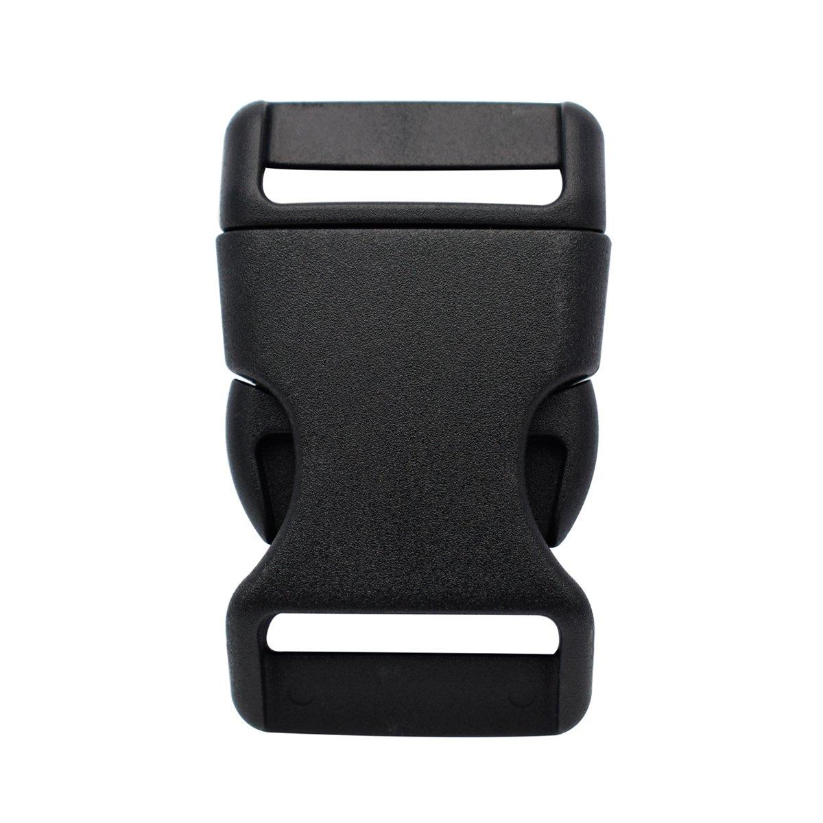 25mm Plastic Buckles Contoured Side Release Buckles Black Clasp for Paracord Bracelet,Bag,Backpack (Pack of 10pcs) KEEJEA