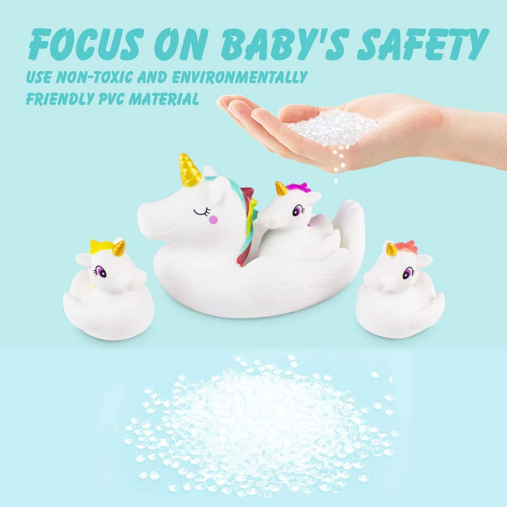 Unicorn Bath Toys Bathroom Toys Value Pack,4pcs Set Water Spray Toys Cute Unicorn Floating Rubber Squirt Toys for Baby Kids Toddlers to Shower Time or Pool Party