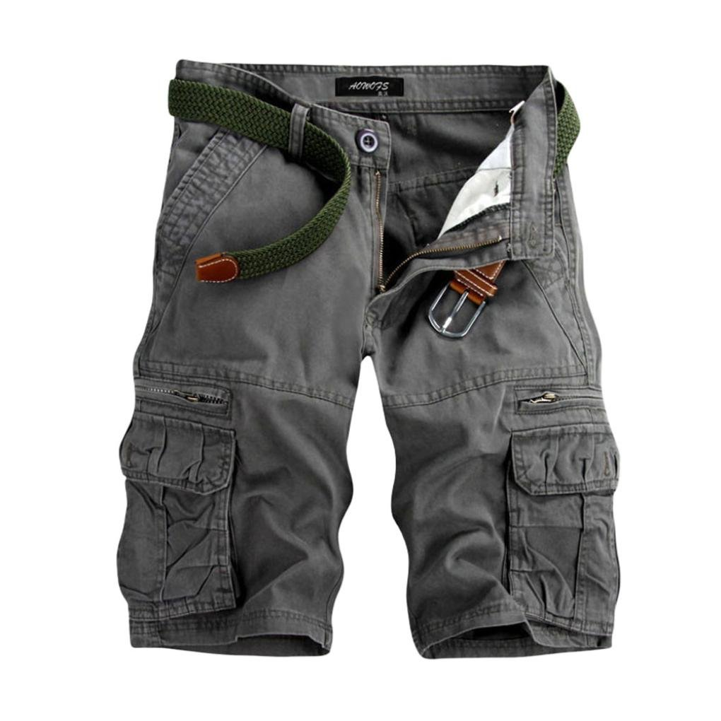 vermers Hot Sale Men's Cargo Shorts Casual Pure Color Outdoors Beach Short Pants Work Trouser with Pocket(30, Gray)