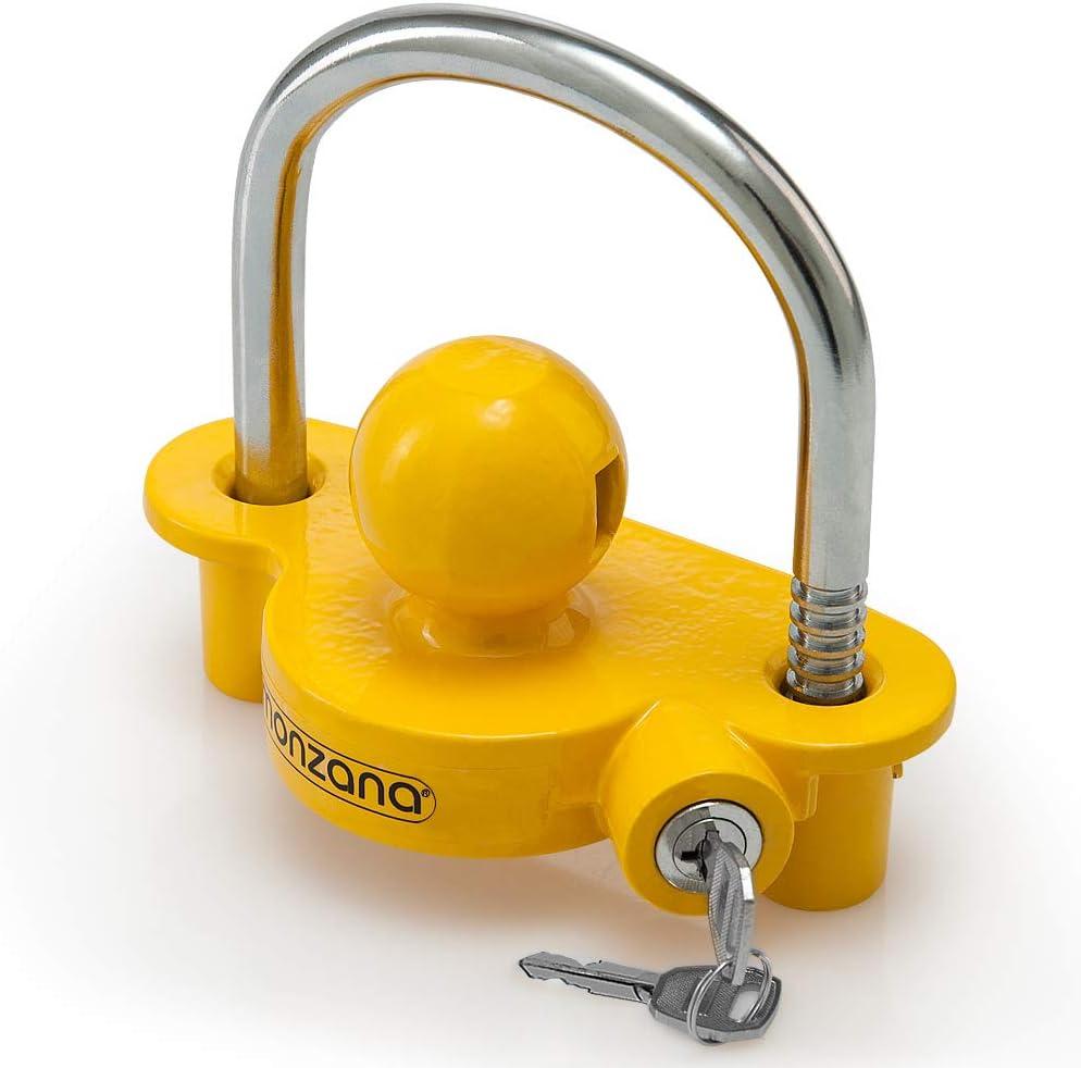 Monzana Candado para remolque Amarillo robusto enganche para moto caravana tráiler protección seguridad antirrobos llave
