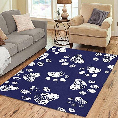 Fantasy Design White Paw Prints Area Rug 7'x5'Custom Soft Carpet For Living Room Bedroom Home Decoration (Print Paw Rug)