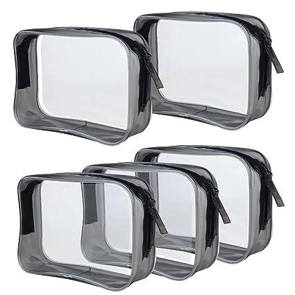 Amazon.com: 5 paquetes de bolsas de cosméticos transparentes ...