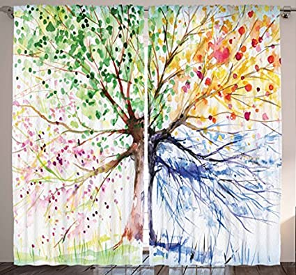Ambesonne Nature Decor Curtains By Abstract Art Navy Blue Watercolor Colorful Tree Four Seasons Spring