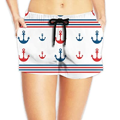 Xush Anchors Womens Shorts Swim Trunks Quick Dry Beach Shorts with Pockets for Surfing Running Swimming Watersport