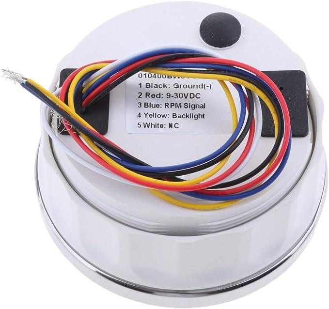 Sharplace 0-4000 RPM 9-32VDC Tachym/ètre Jauge Compteur RPM IP67 /Étanche Affichage LCD