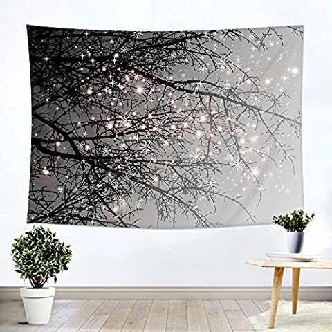 """iLeadon Christmas Tapestry Grey Tree Wall Hanging – Polyester Fabric Wall Decor for bedroom (51""""H x 60""""W, Grey - Christmas Tree Tapestry"""