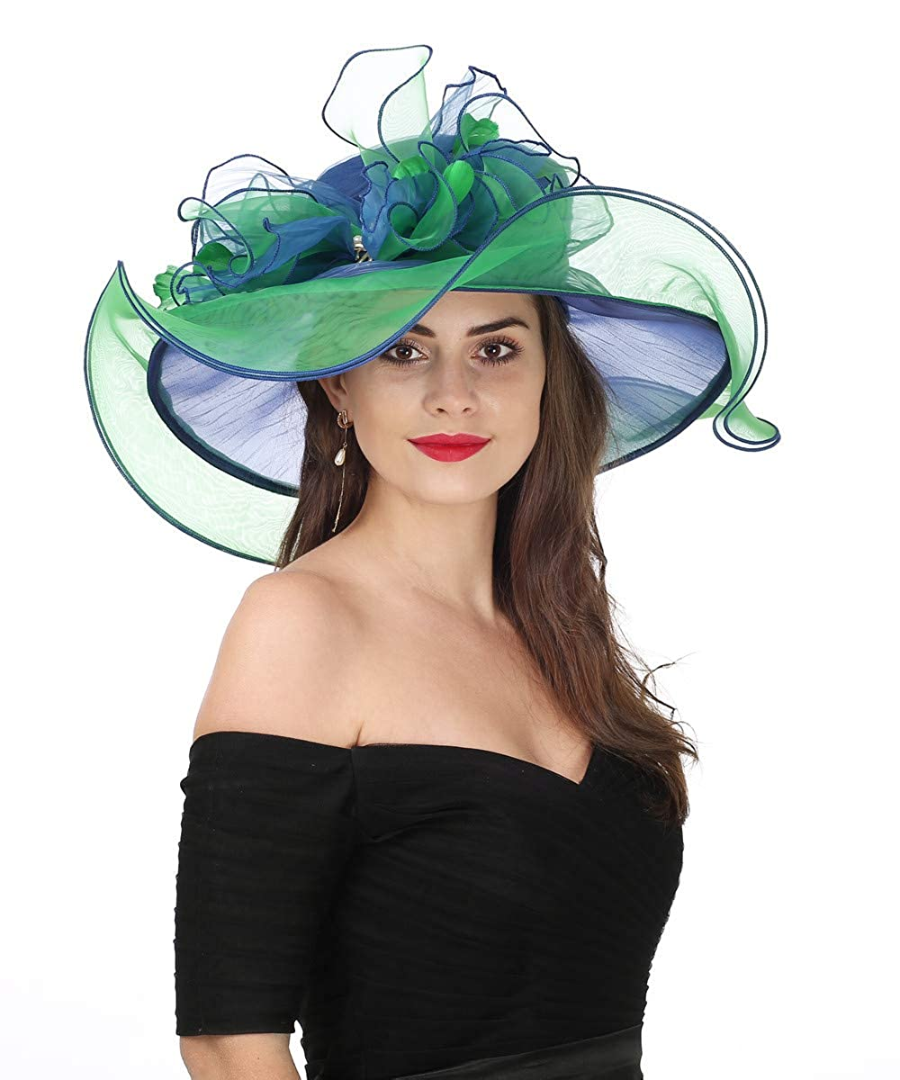 Bowknotroyal bluee Green Lucky Leaf Women Kentucky Derby Church Cap Wide Brim Summer Sun Hat for Party Wedding