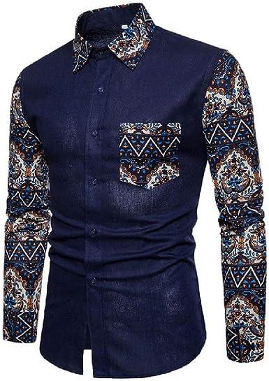 Camisas de Moda de otoño Camisa de Vestir Delgada de algodón para Hombre Camisas de Retazos de Manga Larga para Hombres: Amazon.es: Ropa y accesorios