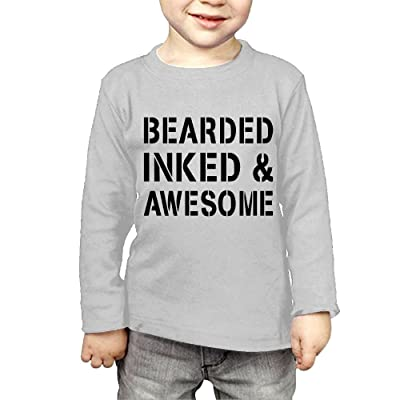 ZheuO Boys & Girls Infant Bearded Inked & Awesome Soft and Cozy 100% Cotton Tee Unisex Gray
