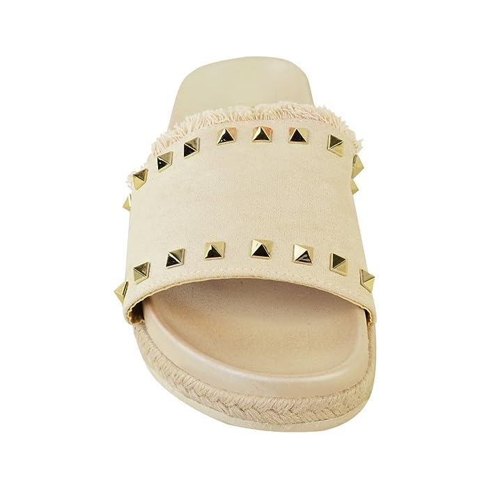 Womens ladies PIATTO ANTISCIVOLO SU BORCHIATO FERMACAPELLI DI MARCA Pantofole passanti Sandali Taglia - rosa dorato metallizzato/borchia in oro, 38