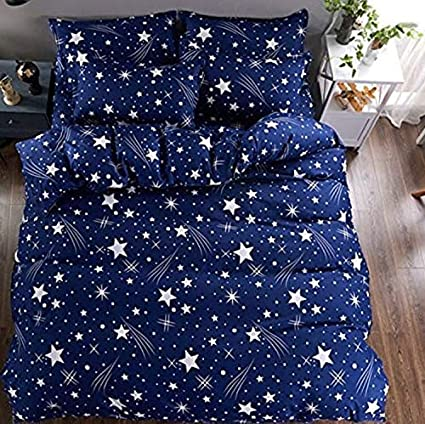 Sunrise Home Furnishings Luxury 3D Print Double Cotton Bed Sheet with 2 Pillow Covers Pack Combo (King Size, Blue)