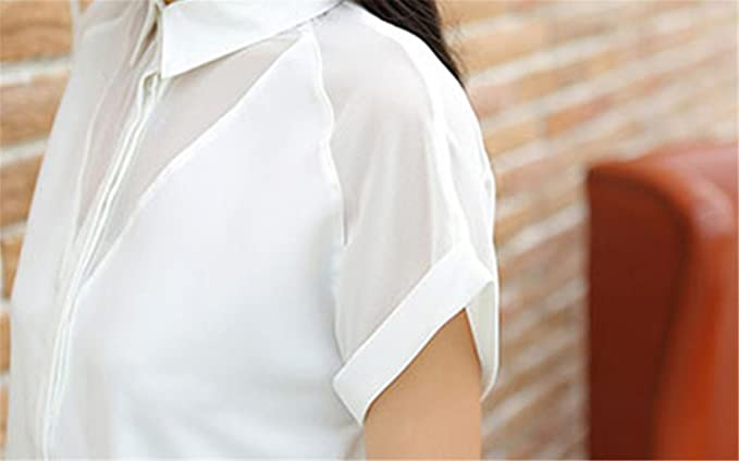 New Summer Style Blouse Women Fashion White Chiffon Elegant Shirt Female Work Wear Office Ladies OL Tops Women Clothing White Summer Shirt XXL at Amazon ...