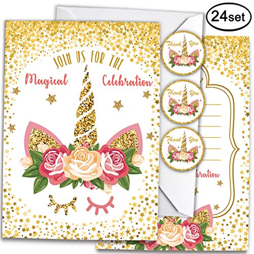 Unicorn Invitations with Envelopes and Unicorn Thank You Stickers for Magical Unicorn Party, Kids Birthday, Baby Shower Party, 72 Count. -