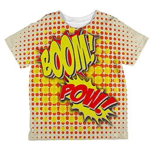 [Halloween Boom Pow Vintage Comic Book Costume All Over Toddler T Shirt Multi 6T] (Vintage Comic Book Girl Costume)