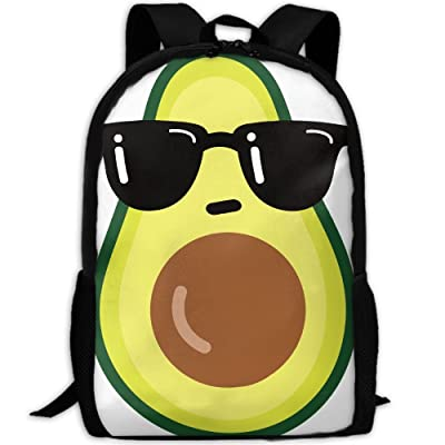 ZQBAAD Cartoon Funny Avocado Icon With Sunglasses Luxury Print Men And Women's Travel Knapsack