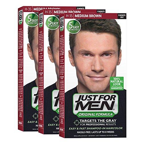 Price comparison product image Just For Men Original Formula Men's Hair Color,  Medium Brown (Pack of 3)