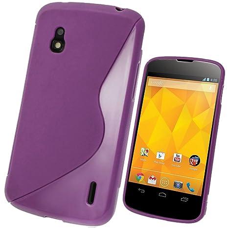 igadgitz S Line Viola Case TPU Gel Funda Cover Carcasa para LG Google Nexus 4 E960 Android Smartphone + Protector de pantalla