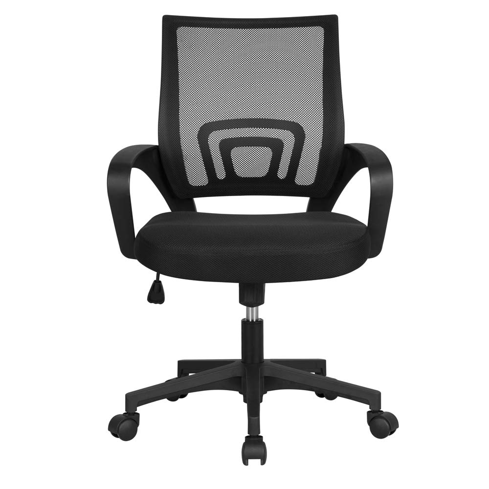Yaheetech Mesh Office Chair Mid Back Swivel Lumbar Support Desk Chair, Computer Ergonomic Mesh Chair with Armrest (Black) by Yaheetech