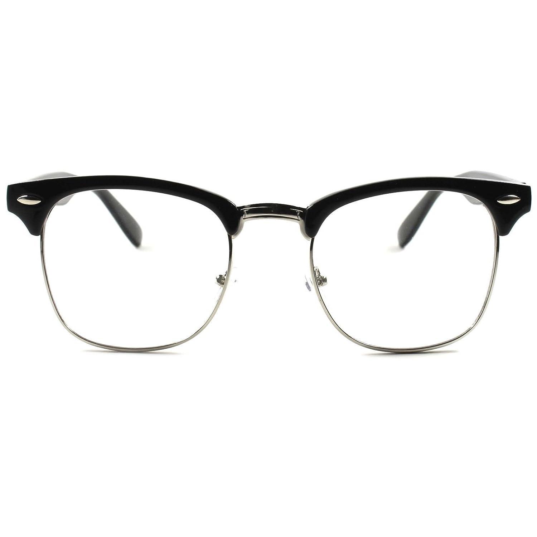 a75e360e25a Amazon.com  Centurion Optical s Half Frame Glasses Clear Lens Eyewear for  Men and Women Plastic + Metal Vintage + Retro Inspired Computer Nerd Girl  Fashion ...