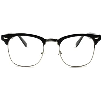 Amazon.com: Half Frame Clubmaster Style – Clear Lens Glasses – Men + ...