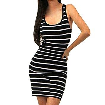Vestido mujer verano ❤ Amlaiworld Vestido corto Sexy de noche sin mangas Bodycon del vendaje de mujeres Mini vestidos de playa (M, Negro): Amazon.es: ...