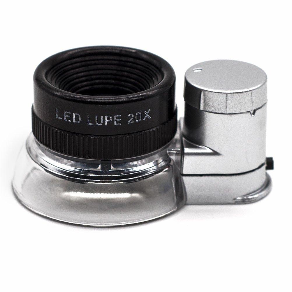 JLERU 20 volte Monocolo da gioielliere con lente d'ingrandimento e luce a 6 LED Eye-Lente di ingrandimento CH80150