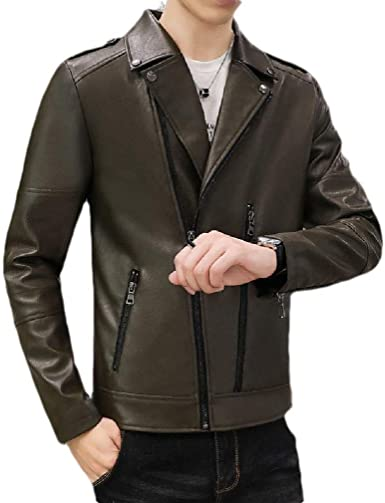 Smeiling Womens Casual Faux Faux-Leather PU Leather Long Sleeve Oblique Zip Jackets