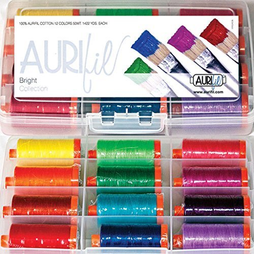 Aurifil Thread Set Bright Collection 50wt Cotton 12 Large (1422 yard) Spools by Aurifil