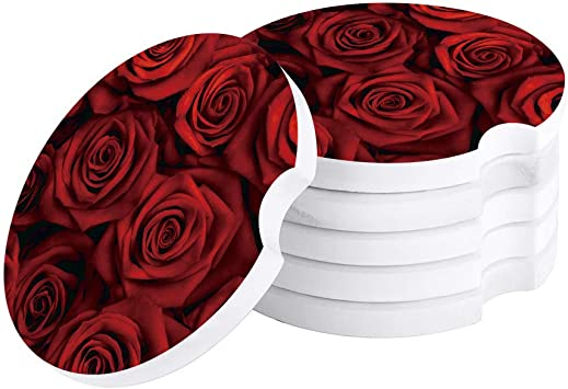 Amazon Com Valentine S Day Car Drinks Coasters Set Of 4 Pack Red Rose Flowers Absorbent Ceramic Stone Floral Printed Coaster With A Finger Notch For Easy Removal From Auto Cupholder Kitchen Dining