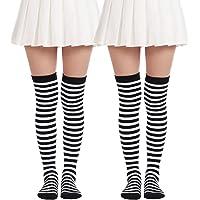 Thigh High Long sock Over Knee High Socks Striped Christmas Stockings Costume (2 Pairs Black White socks)