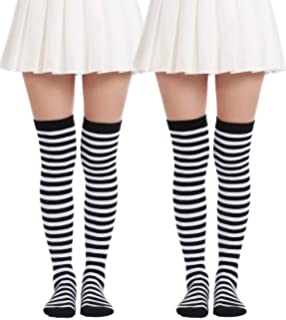 c57cc6b75d9 JASMINO Over Knee Long Sock Striped Thigh High Socks Girls Long Knitting  Socks Cute Cosplay Costume