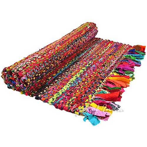 Eyes of India - 3 X 5 ft Colorful Woven Chindi Rag Rug Indian Bohemian Boho Decorative by Eyes of India (Image #3)