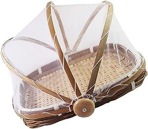 Yardwe Bamboo Serving Food Tent Basket Covered Rectangular Woven Basket Bread Vegetable Fruits Food Meals Storage Basket Dustpan with Net Cover 40X27cm