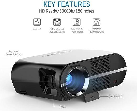 JIANFCR Proyector 1280X800 Full HD Proyector, Soporte De Formato ...