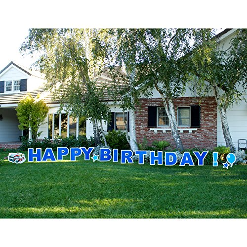 Yard Card, HBDB Happy Birthday Boy Outdoor Announcement Decoration Card with Stakes -