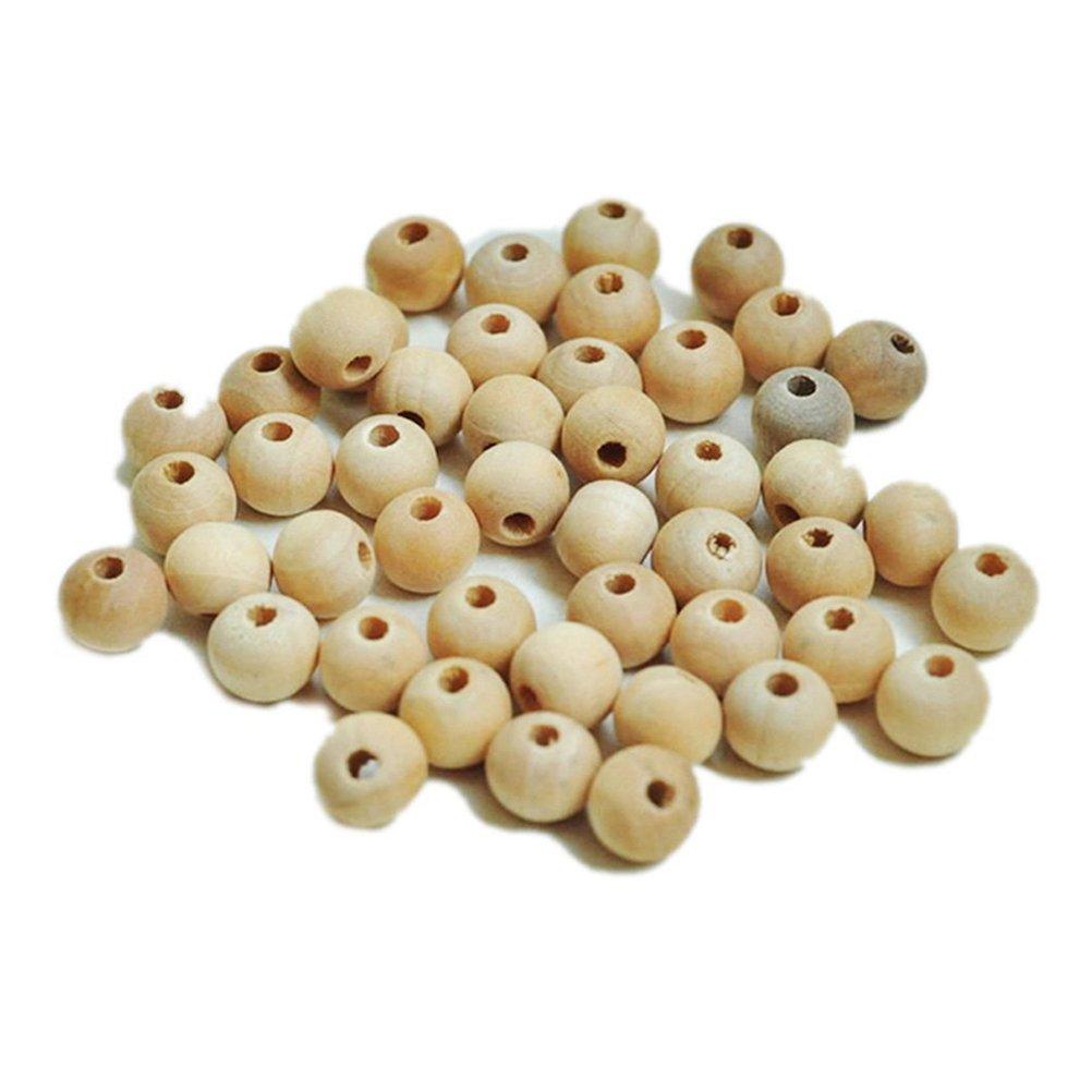 OULII Ronda di regalo festa di mamma sfera legno paravento chicchi di gioielli DIY risultati della encantos senza terminar di colore naturale DIY, confezione da 200(10mm)
