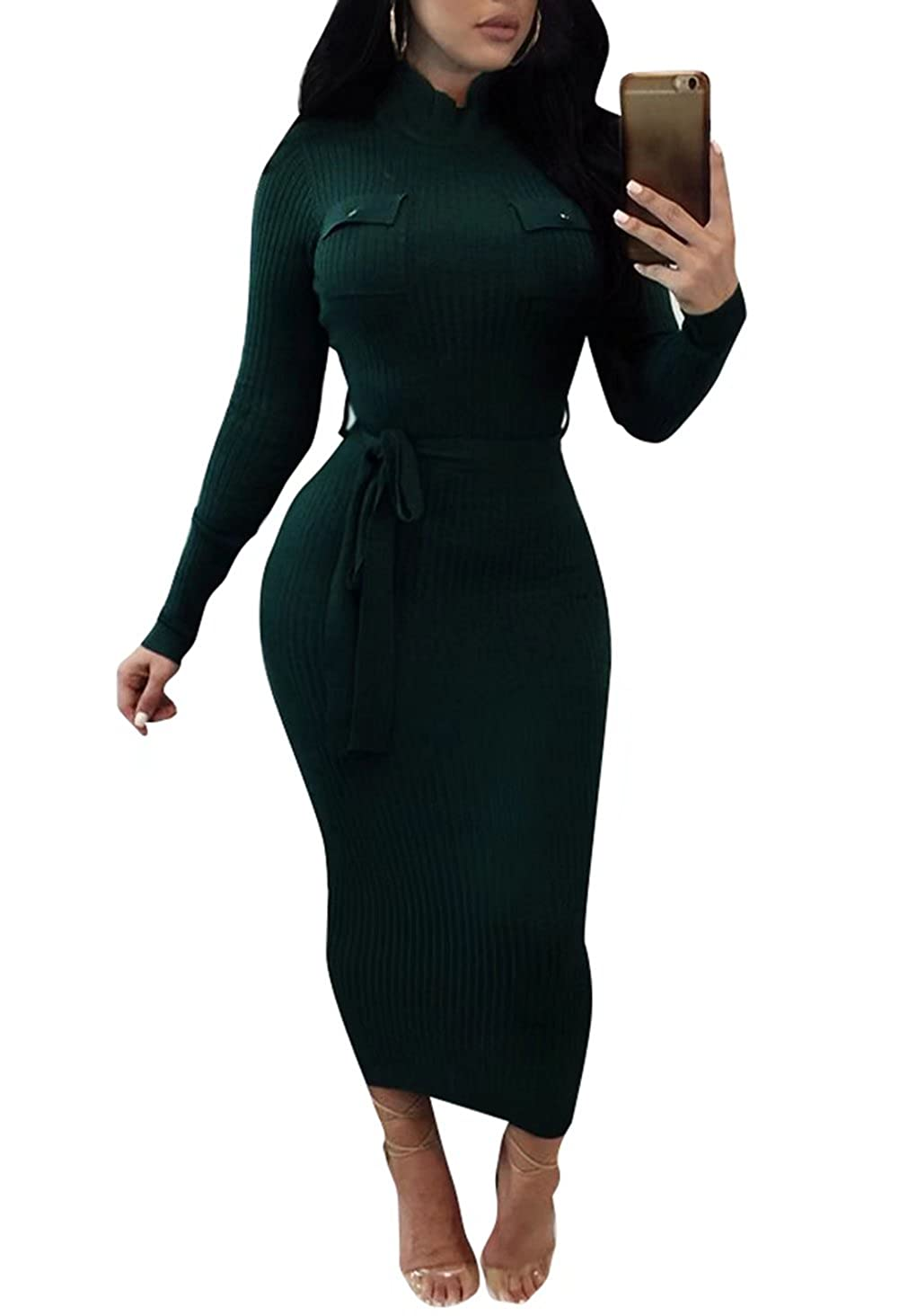 ad29413933 FOUNDO Women s Sexy Turtleneck Ribbed Long Sleeve Belt Bodycon Sweater Dress  Green S at Amazon Women s Clothing store