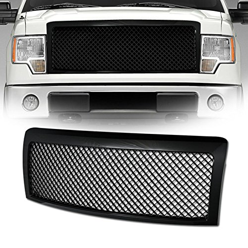 VXMOTOR for 2009-2014 Ford F150 - Black Sport Luxury Mesh Style Front Hood Bumper Grill Grille Guard ABS Bentley Style Mesh Grille