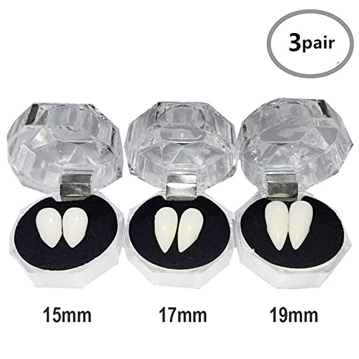 TissueDeep 3 Pairs Vampire Fangs Teeth - Dentures Fake Braces Cosplay Props  Halloween Costume Accessory Props Party Favors