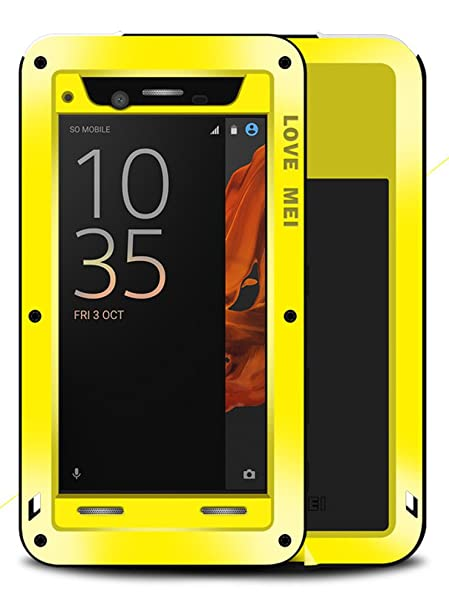 best service 9751e fe4ab Waterproof Case for Sony Xperia XZ (5.2 inch), LOVE MEI Brand Aluminum  Material with Tempered Glass Screen Cover YellowTwo-Years Warranty