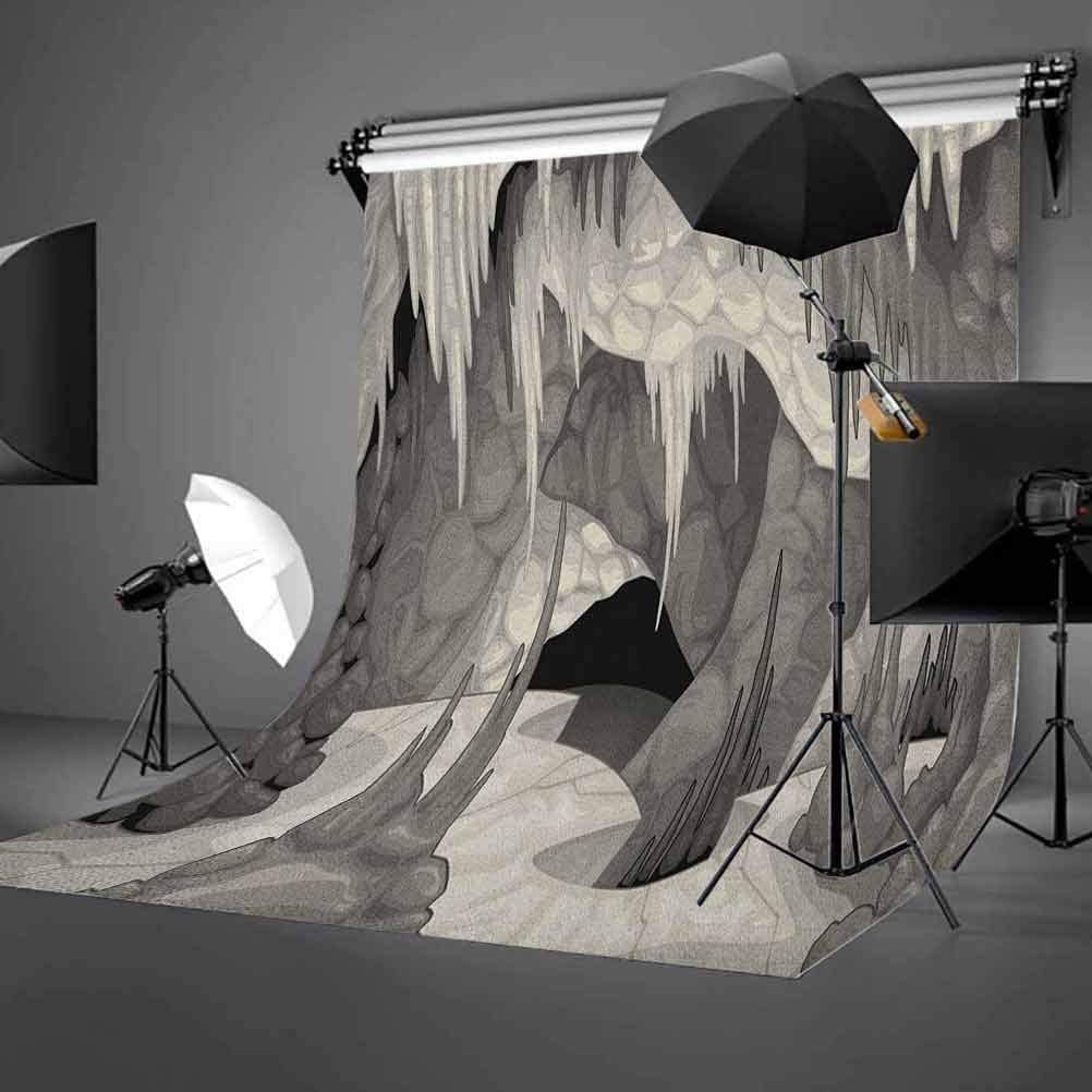 7x10 FT Cave Vinyl Photography Backdrop,Inside The Cavern with Stalagmites Speleology Theme Cartoon Style Grotto in Greyscale Background for Photo Backdrop Baby Newborn Photo Studio Props