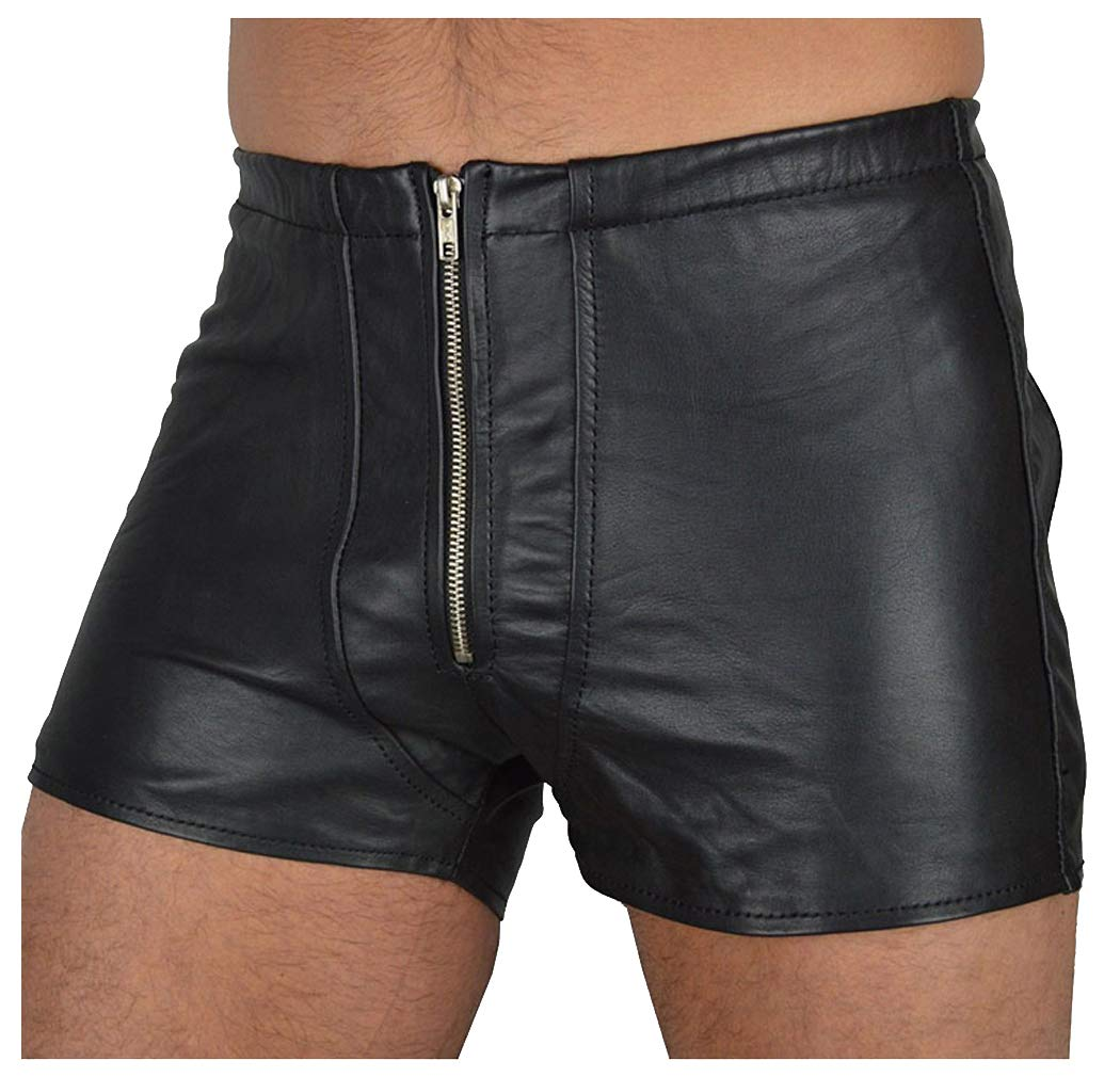 5467ed865a5e Galleon - Killreal Men's Sexy Faux Leather Gay Underwear Tight Zipper Pouch Boxers  Briefs Wet Look Shorts Black Medium
