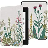 Colorful Star Slimshell Case for Kindle Paperwhite 10th Generation 2018 - Botanical Flowers Patterned PU Leather Covers for A