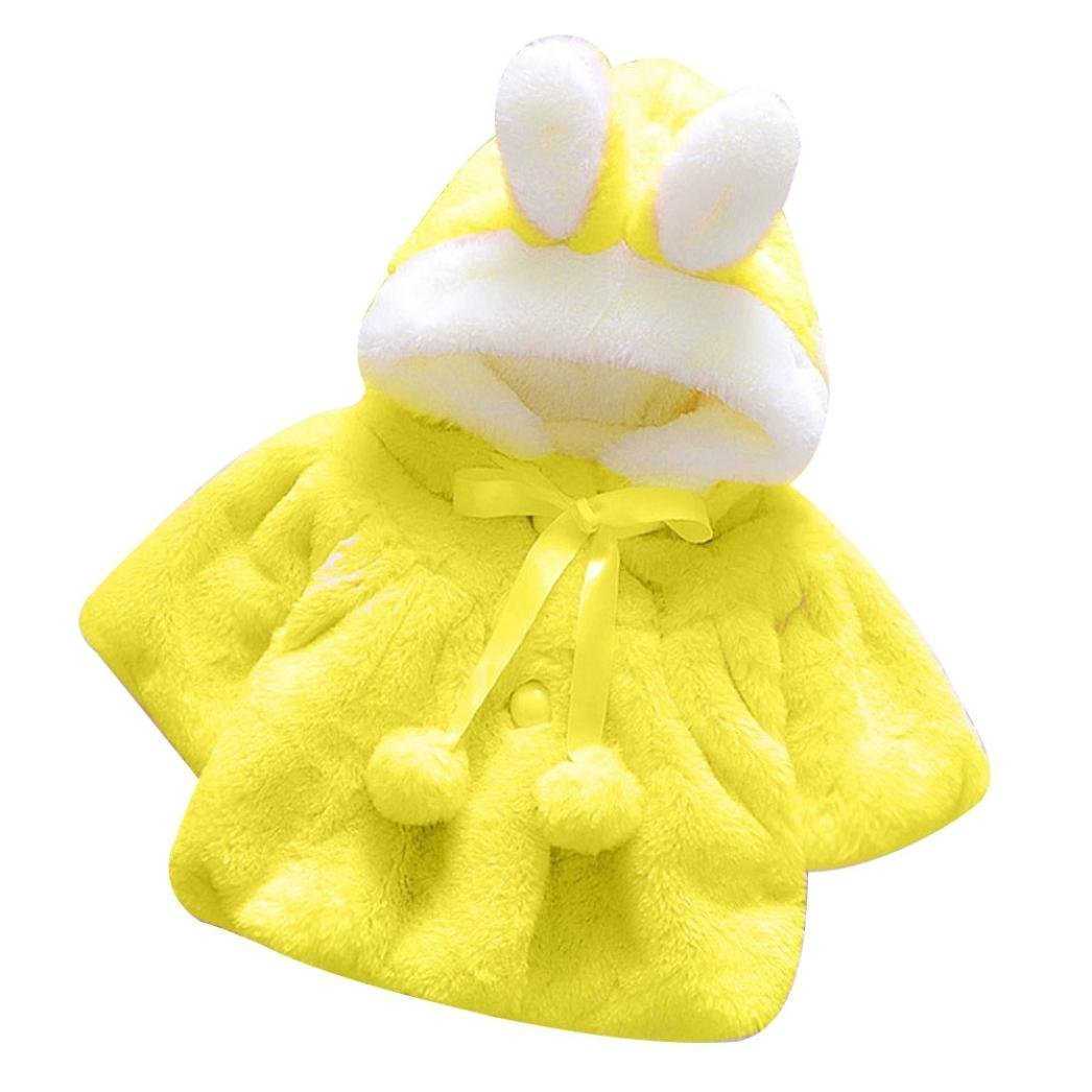 Infant Baby Girls Autumn Winter Fur Warm 3D Cartoon Rabbit Ear Hooded Coat Cloak Jacket Thick Outerwear Clothes (Yellow, 6-12 Months) by Aritone - Baby Clothes