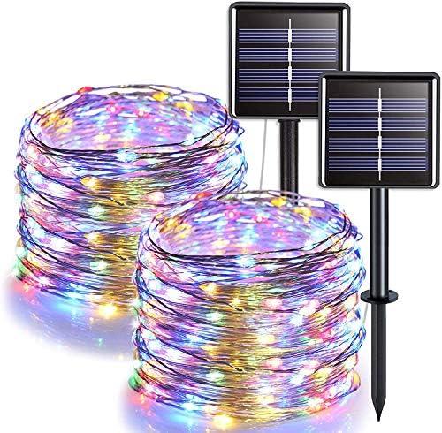 Lichtsnoer voor buiten verpakking van 2 stuks 100 leds tuinverlichting waterdicht 10 m 8 modi koperdraad decoratieve verlichting voor terras binnenplaats feest bruiloft meerkleurig