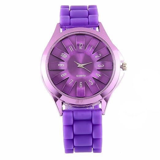 DUSENG Reloj de pulsera de cuarzo de gelatina de goma floral jalea reloj de silicona flor floral para mujer: Amazon.es: Relojes