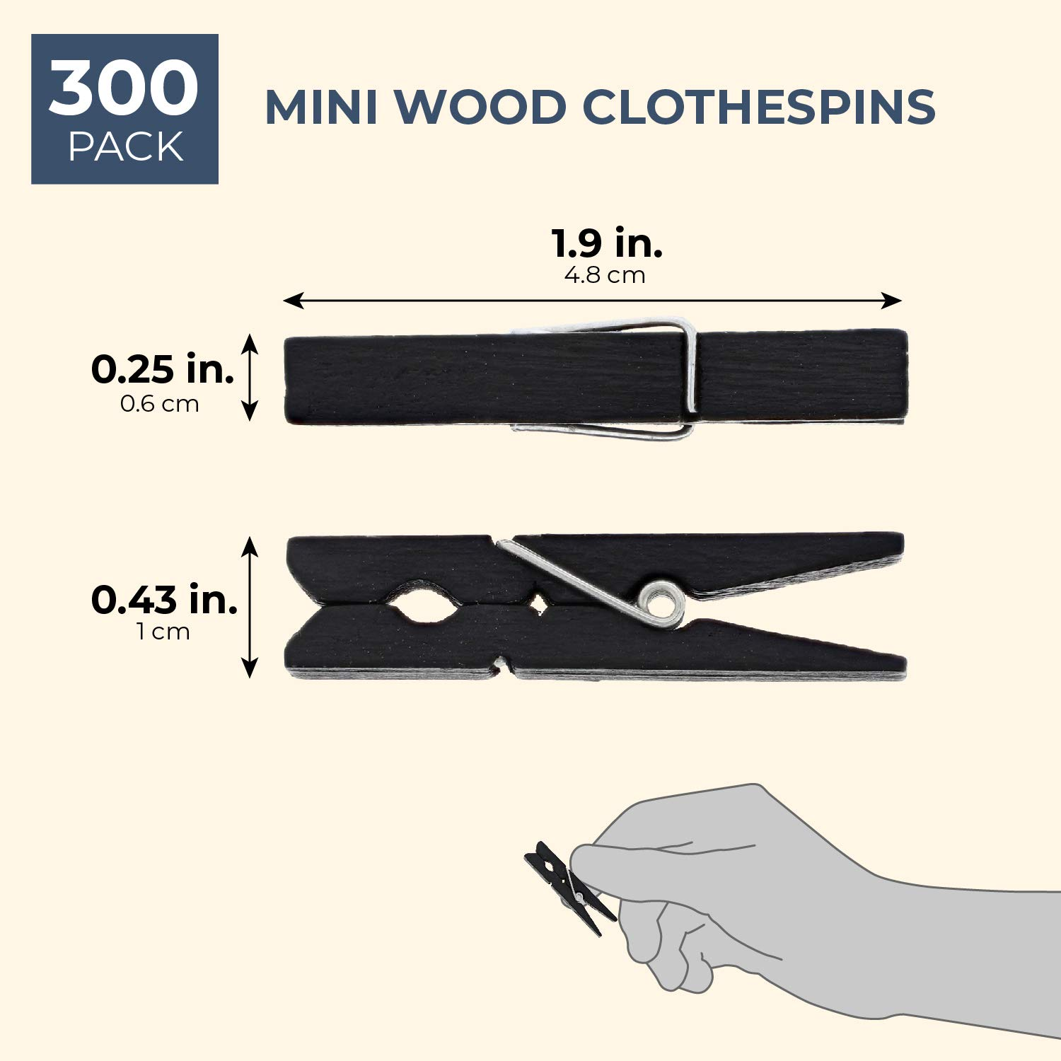 Bright Creations 300-Piece Mini Wood Craft Clothespins 1 7//8 Inches Black